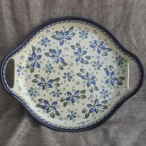 Polish Pottery Handled Serving Plate